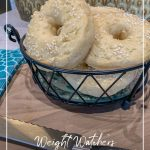 Bagels in basket behind and text How to Make Weight Watchers 2-Ingredient Dough for Bagels