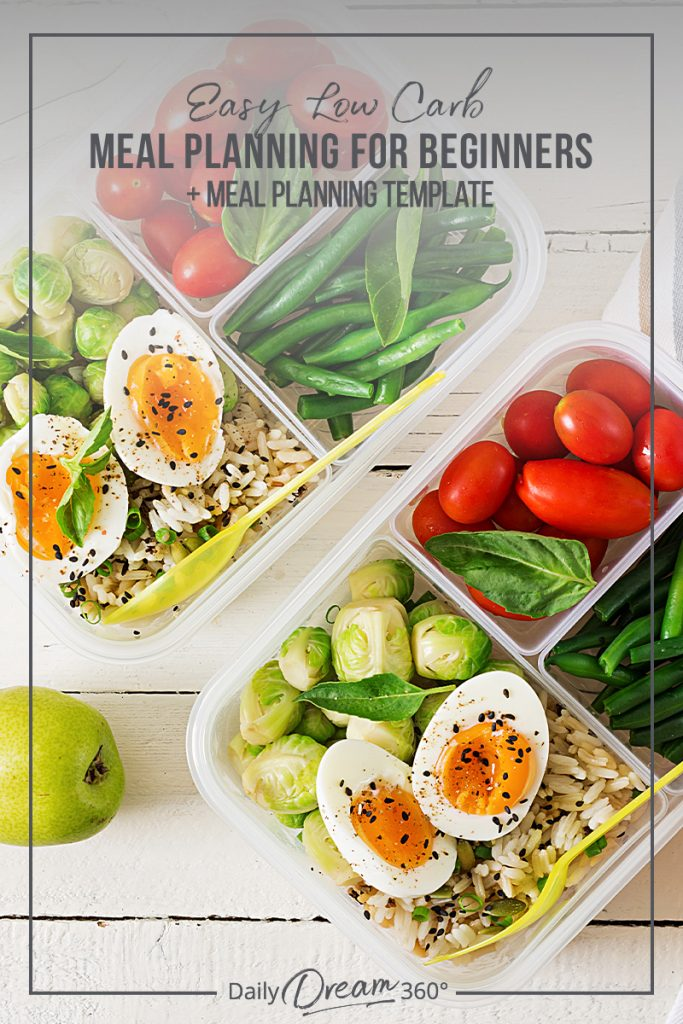 Food storage containers with text overlay Easy Low Carb Meal Planning for Beginners + Meal Planning Template