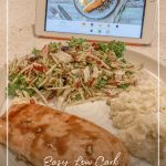 Food prepared in front of tablet with text overlay Easy Low Carb Meal Planning for Beginners + Meal Planning Template