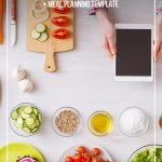 Food prep and woman holding tablet with text overlay Easy Low Carb Meal Planning for Beginners + Meal Planning Template