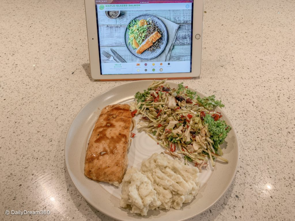 Meal prepared and sitting in front of tablet with recipe