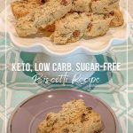 biscotti on plate and text keto, low carb, sugar-free biscotti recipe