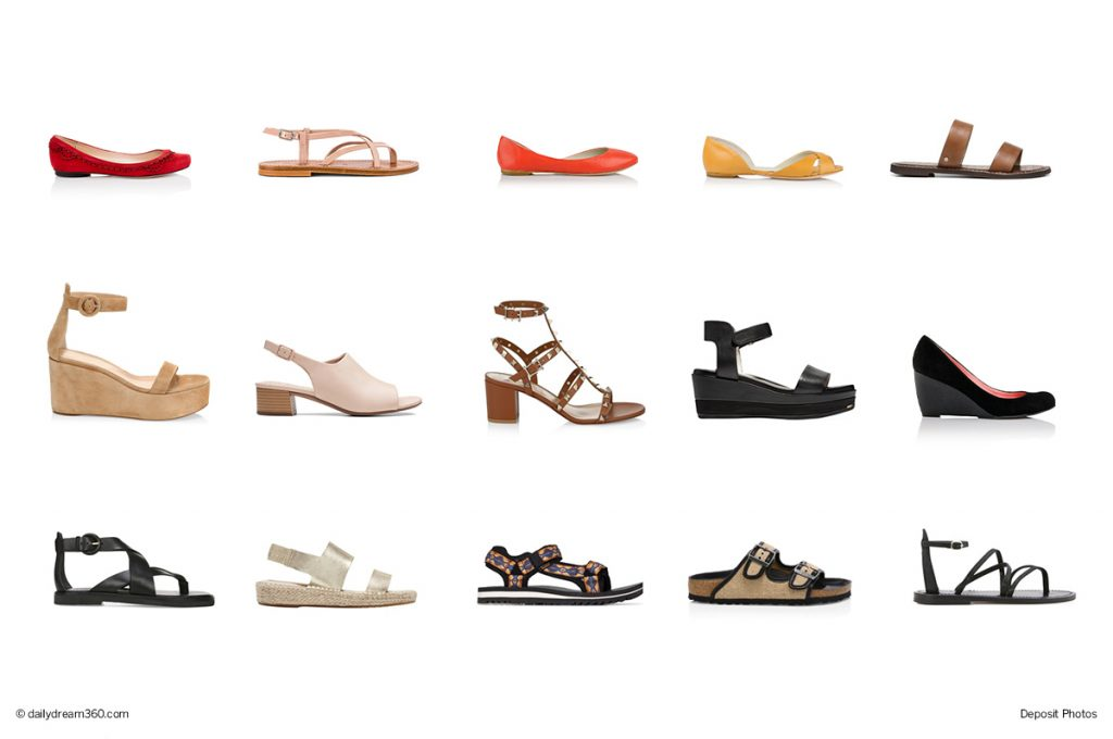 Shoe styles on white background Hottest Summer Styles Most Comfortable Shoes and Sandals for Summer