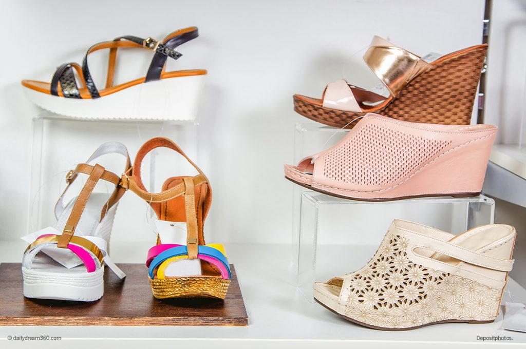 Summer shoes and sandals on display in store