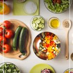 Top view of healthy food with pin text Tips on How to Start a Healthy Lifestyle and Stick to It