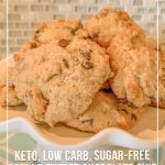 Stack of cookies with text Keto Low Carb Sugar Free Peanut Butter Chocolate Chip Cookies