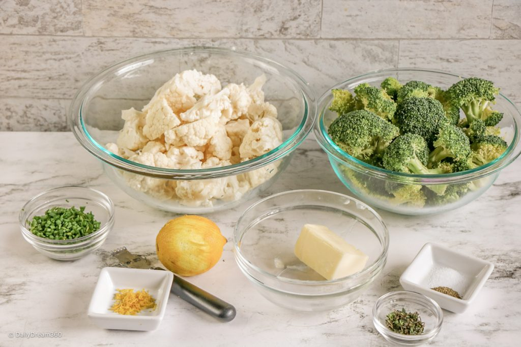 ingredients for Boiled Broccoli and Cauliflower with Herb Butter recipe