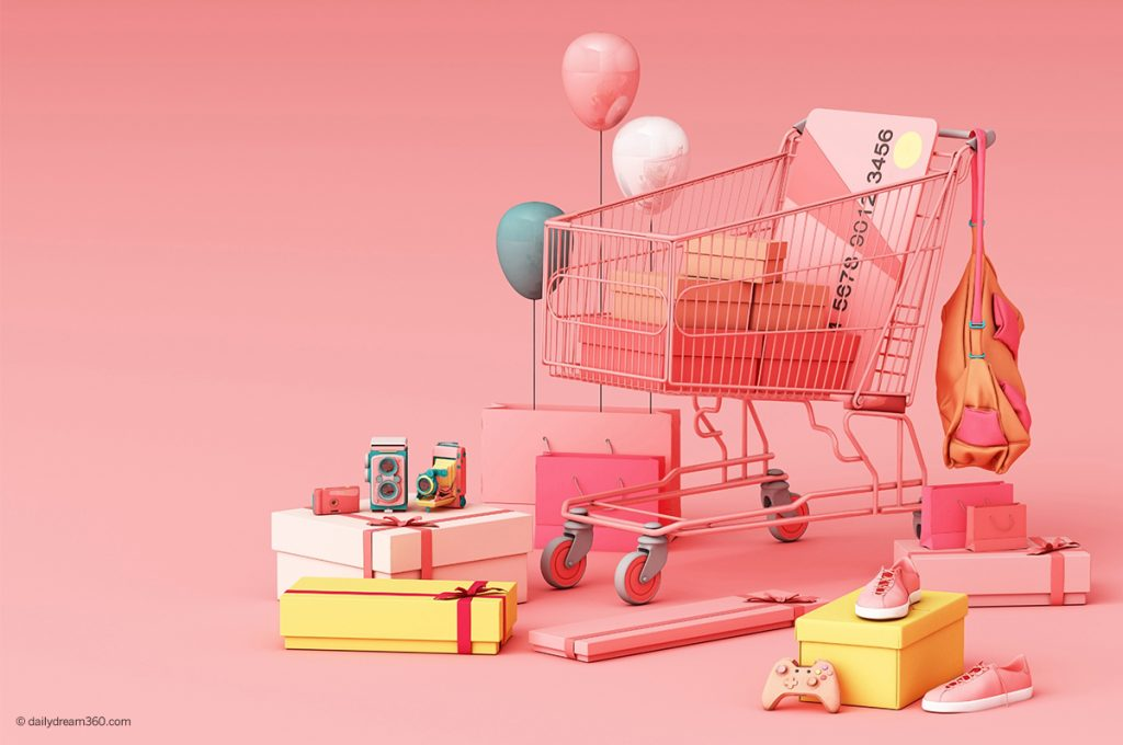 Shopping cart with gift boxes and balloons to celebrate Amazon Prime Day