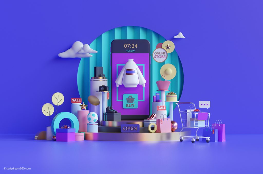 3d shopping times and phone in front of purple background