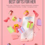 Pin image with text: Ultimate List of the Best Gifts for Her Based on Her Interests 3d images of gifts coming out of a phone