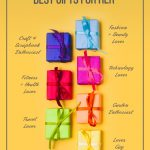 Pin image with text: Ultimate List of the Best Gifts for Her Based on Her Interests wrapped gift boxes on yellow background with different interests written beside