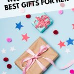 Pin image with text: Ultimate List of the Best Gifts for Her wrapped gift on blue background