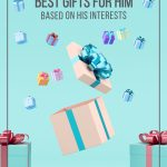 Pin image: 3D gifts on blue background with text: Best Gifts for Him Based on His Interests