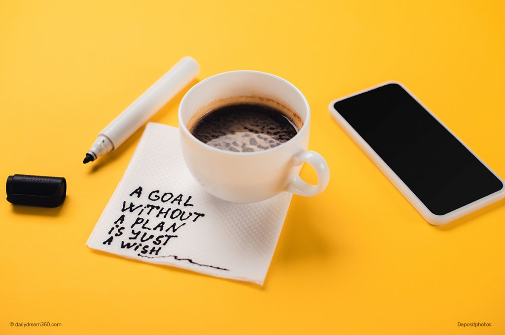 Coffee cup with napkin and inspirational message over yellow background