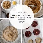 Four images including ingredients, blended items and a muffin tin with text: Easy to Make No-Bake Vegan Mini Cheesecakes