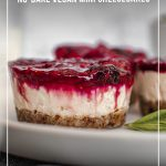 Mini cheesecaks on plate with with text: Easy to Make No-Bake Vegan Mini Cheesecakes