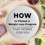 Vegetables and plate on background with text: Choosing a Weight Loss Program that Works for You (pin image)