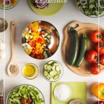 Vegetables on background with text: Choosing a Weight Loss Program that Works for You (pin image)