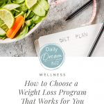 Vegetables on background and notebook with Diet Plan written with text: Choosing a Weight Loss Program that Works for You (pin image)