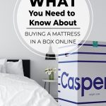 Casper box next to bed with text What You Need to Know About Buying a Mattress in a Box Online (pin image)
