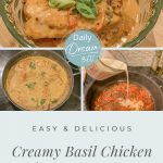 Creamy basil chicken 4 prep images and text Easy One-Pan Creamy Basil Chicken with Parmesan Recipe (pin image)