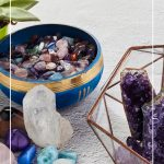 Display of crystals on white surface with text Best Healing Crystals and How to Use Protection Crystals for the Home.