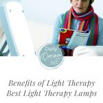 Woman sitting in front of light therapy box with text: Benefits of Light Therapy and the 5 Best Light Therapy Lamps