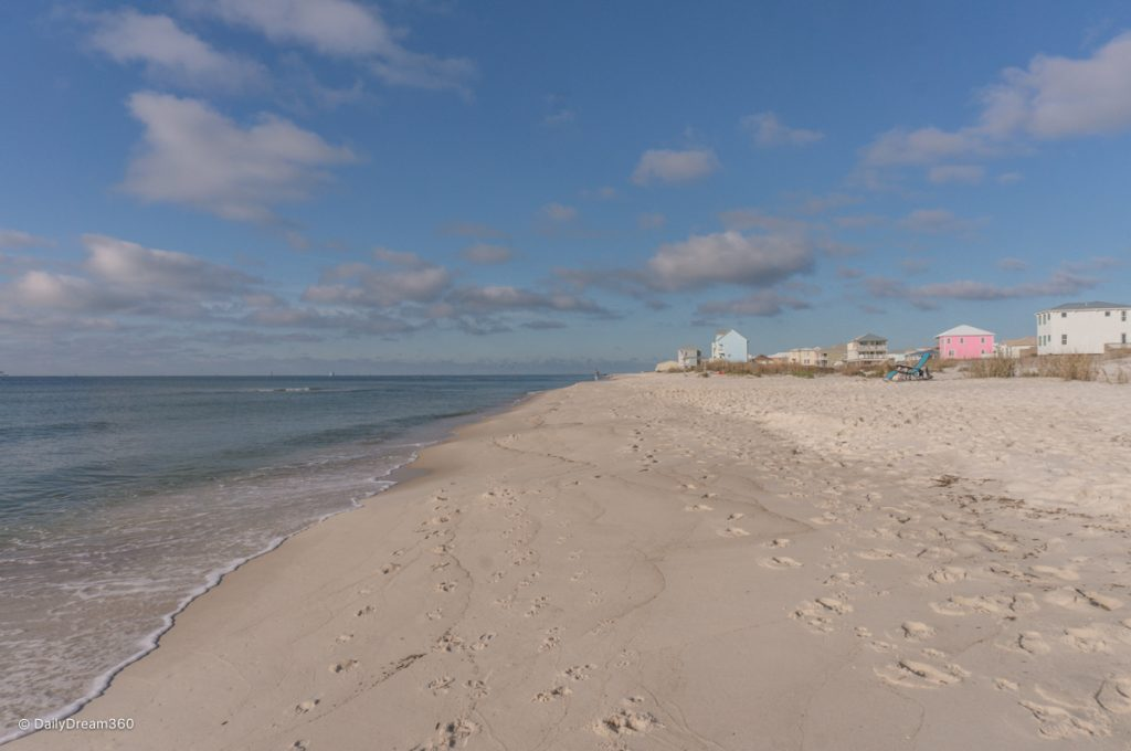 View of beach with beach houses in background Fort Morgan Alabama