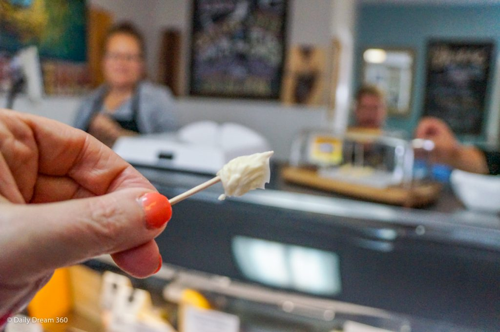 Sampling of cheese at Dover Cheese Shop in Port Dover Ontario