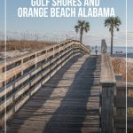 Girl walking on boardwalk to beach with pin text Fun Things to do in Gulf Shores and Orange Beach Alabama