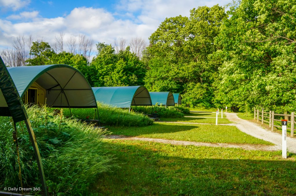 Line of Wilderness Tents at Long Point Eco-Adventures in St. Williams Ontario