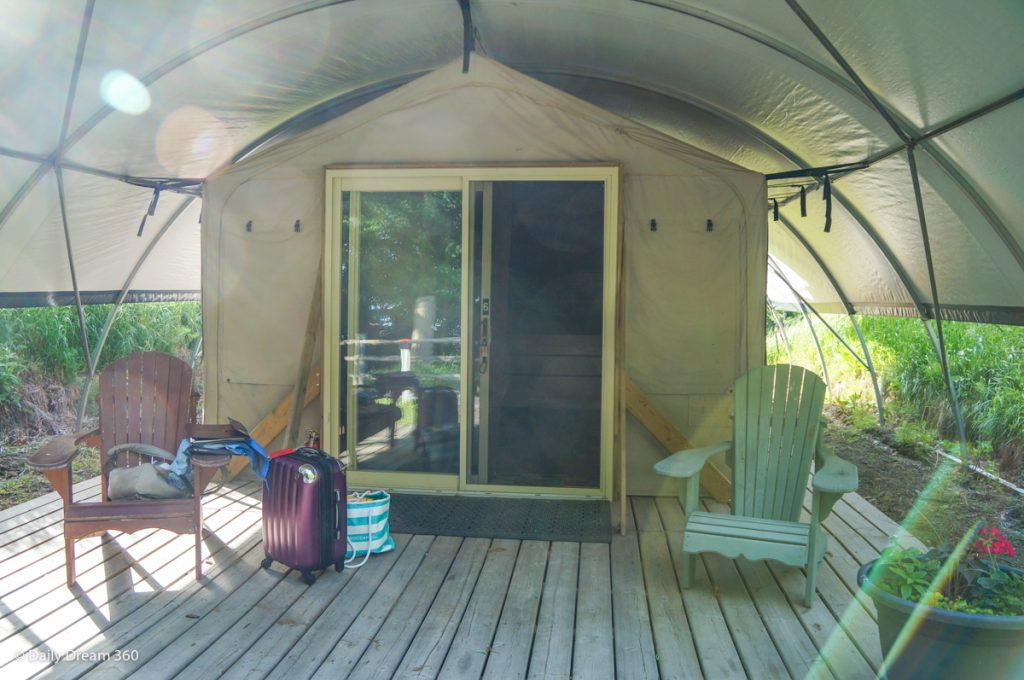 Front entrance to Wilderness Tent at long Point Eco-Adventures