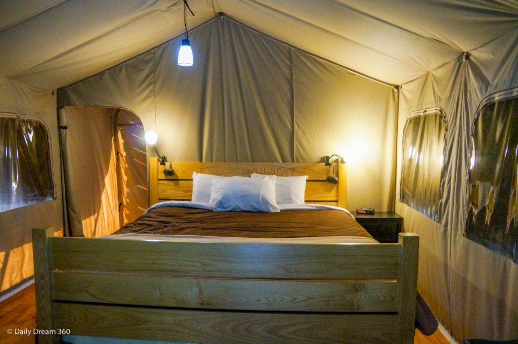 View inside Wilderness Tent at Long Point Eco-Adventures in St. Williams Ontario