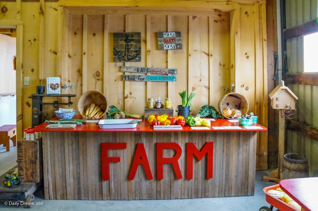 View of counter with word FARM at Wholesome Pickins Delhi Ontario