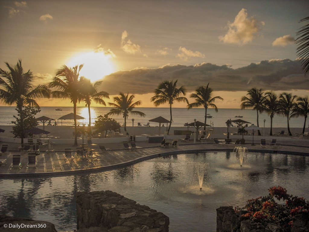 Sunset at beach and pool in Jolly Beach Resort and Spa