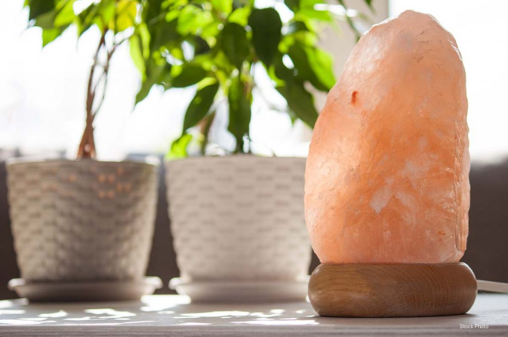 salt lamp with plants in background