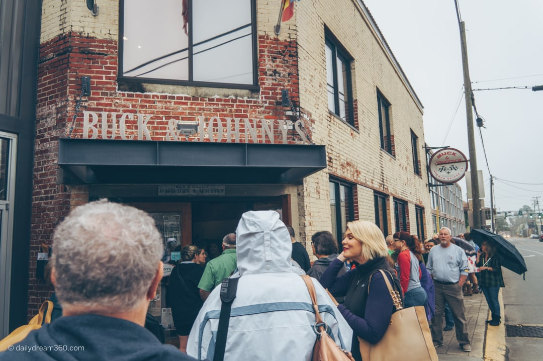 Huge crowd lines up outside Buck and Johnny's Lafayette Louisiana