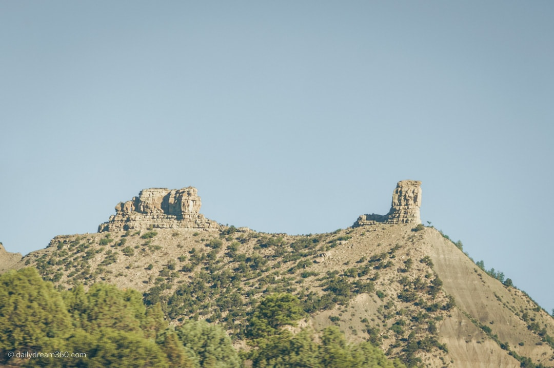A look at Chimney Rock Colorado from afar.