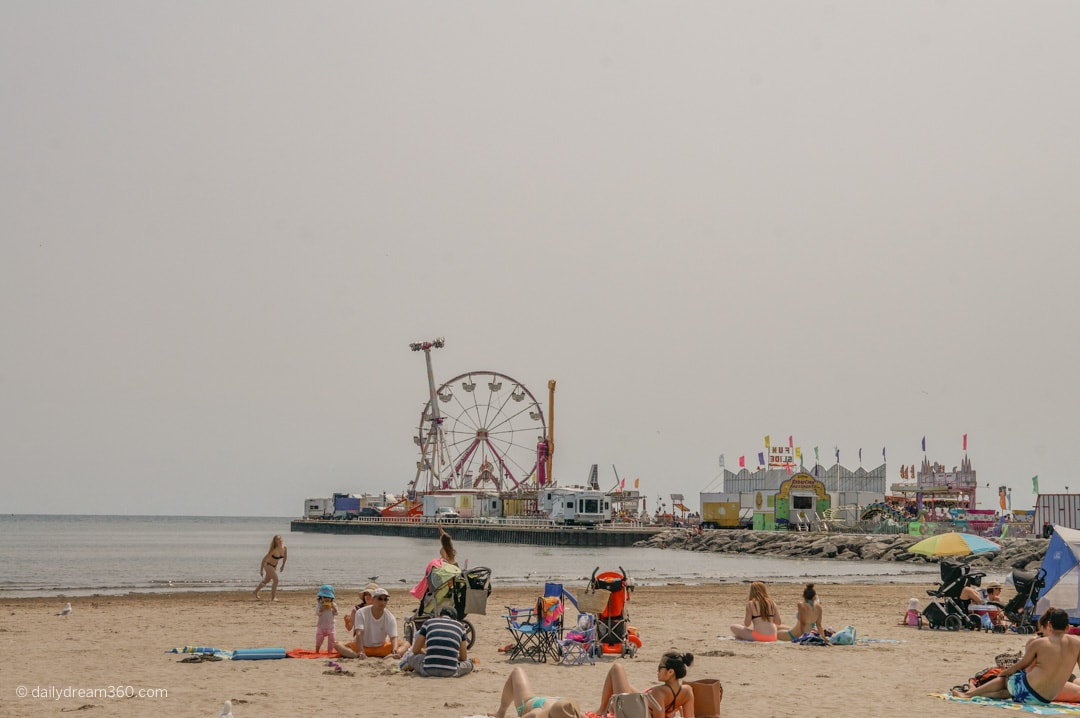 View of boardwalk during fair in Cobourg Ontario