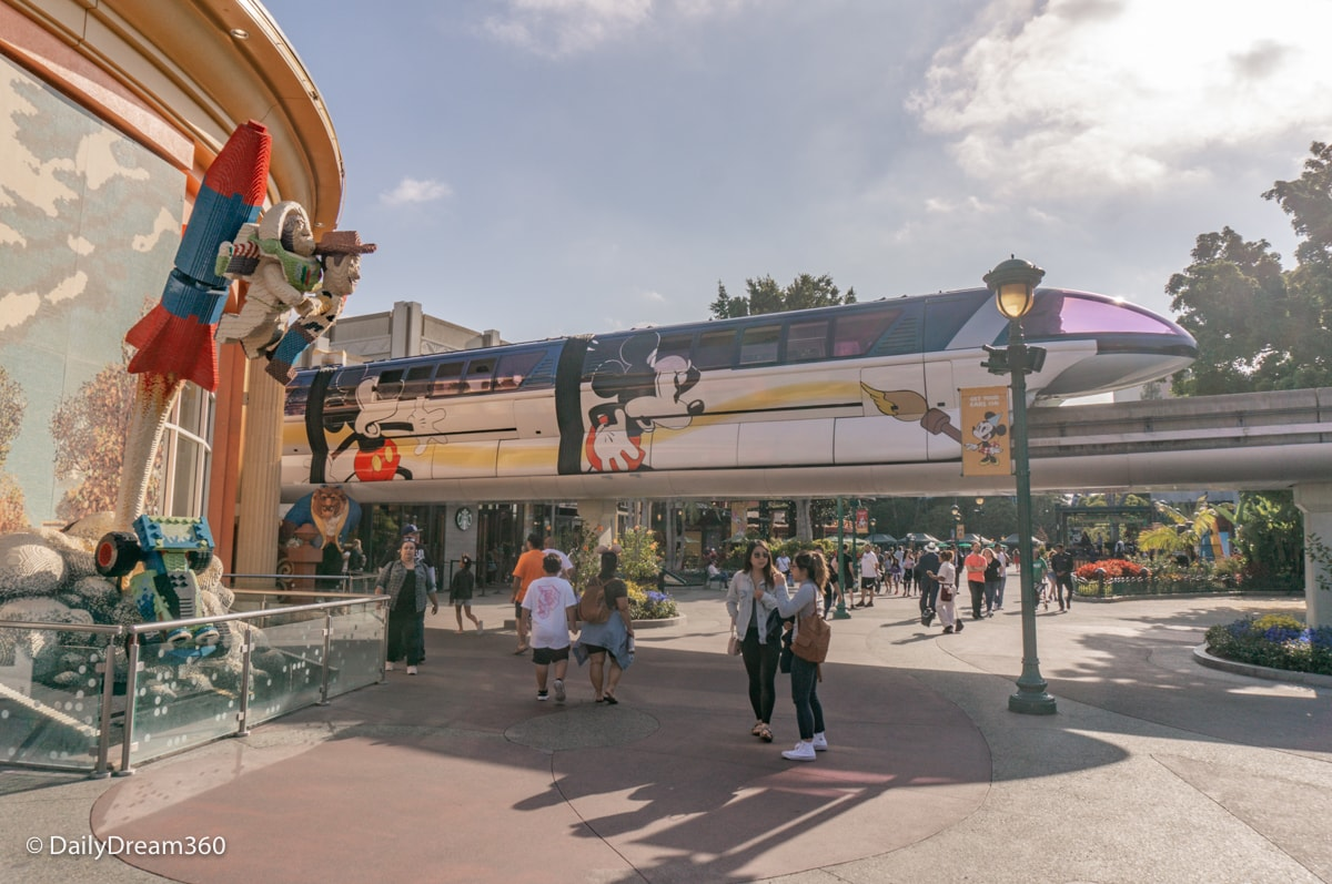 Monorail in Downtown Disney California
