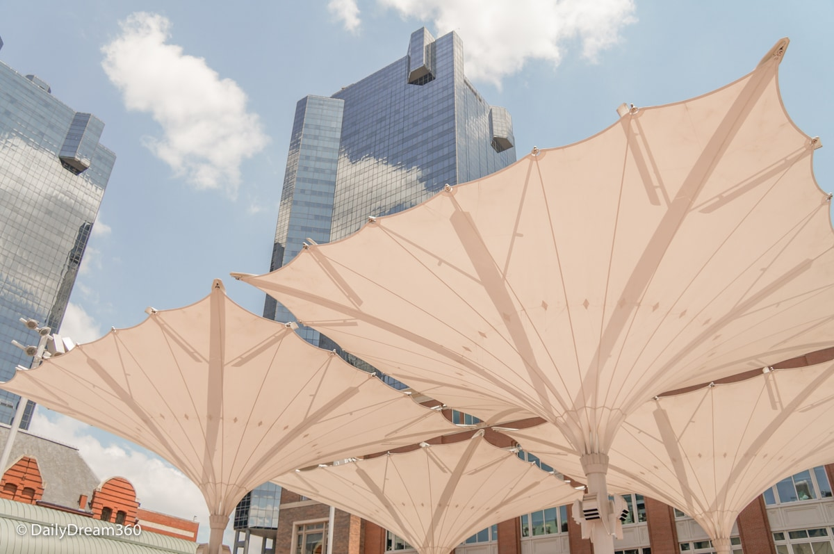 Skyscrapers above umbrellas at Sundance Square