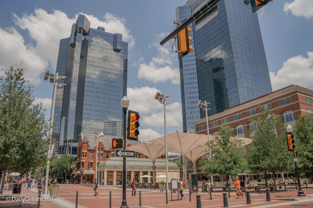 Old and new buildings surround Sundance square Fort Worth