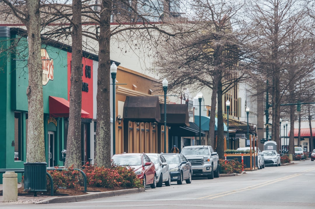 stores line streets of Downtown Lafayette