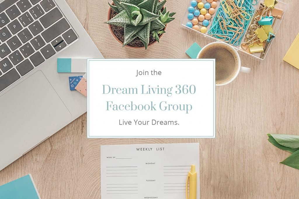 Join Dream Living 360 Facebook Group with Computer and desktop in background