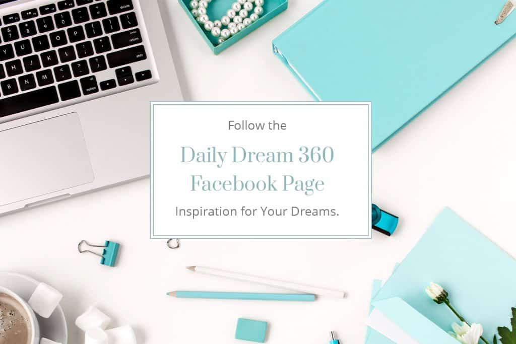 Follow Daily Dream 360 Facebook Page with computer and blue desktop items in background