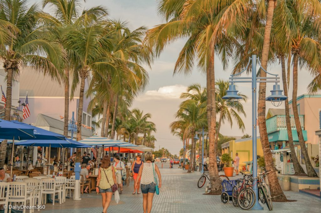 Shoppers walking in Times Square District Fort Myers Beach Florida