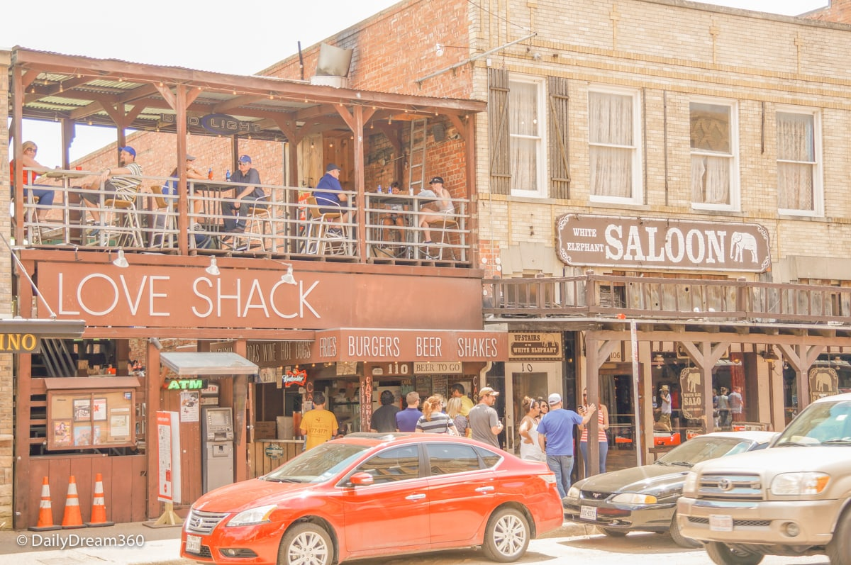 Several bars and restaurants in Fort Worth Stockyards