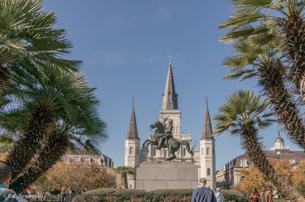 Jackson's Square statue in front of cathedral in New Orleans