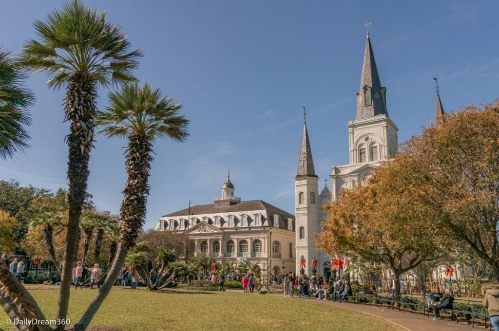 Jackson's Square park in front of the Cathedral in New Orleans