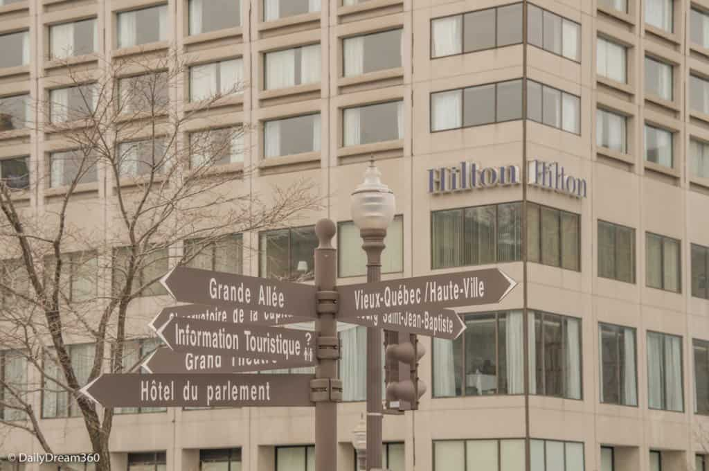 Signs to Quebec City attractions in front of Hilton